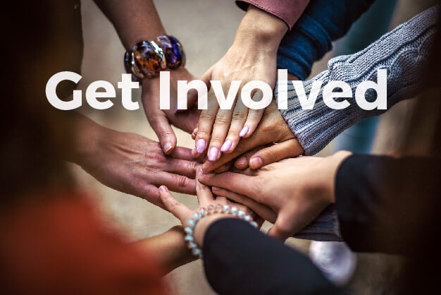 Get Involved graphic with hands touching in background